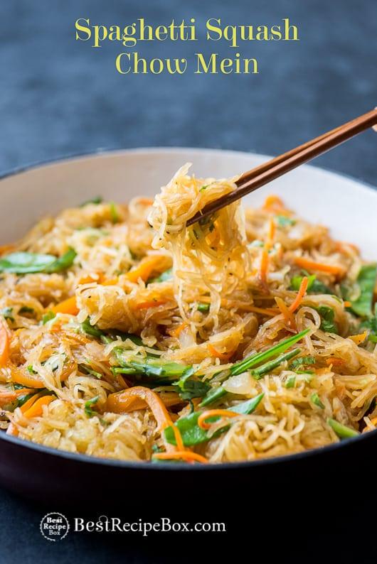 Spaghetti Squash Chow Mein Recipe | @whiteonrice