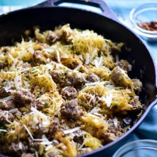 Spaghetti Squash with Sausage and Parmesan Cheese
