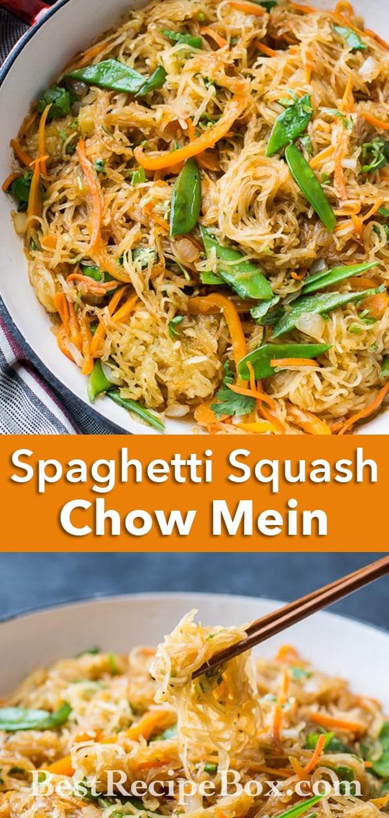 Spaghetti Squash Chow Mein Recipe   @whiteonrice