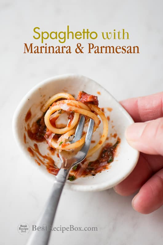 Spaghetto Recipe with Marinara and Parmesan in a bowl with fork