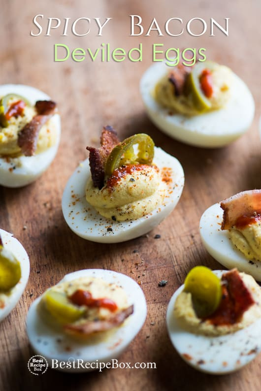 Deviled Eggs Recipe with Bacon, Sriracha, Jalapeño Spicy Deviled Eggs | @bestreciepbox