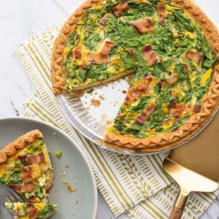 Spinach Bacon Quiche Recipe for Breakfast Brunch @bestrecipebox