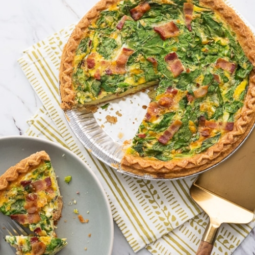 Super Easy Quiche Recipe With Spinach Bacon Or Ham Best Recipe Box