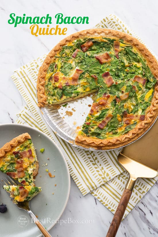Spinach Bacon Quiche Recipe for Breakfast Brunch on a plate