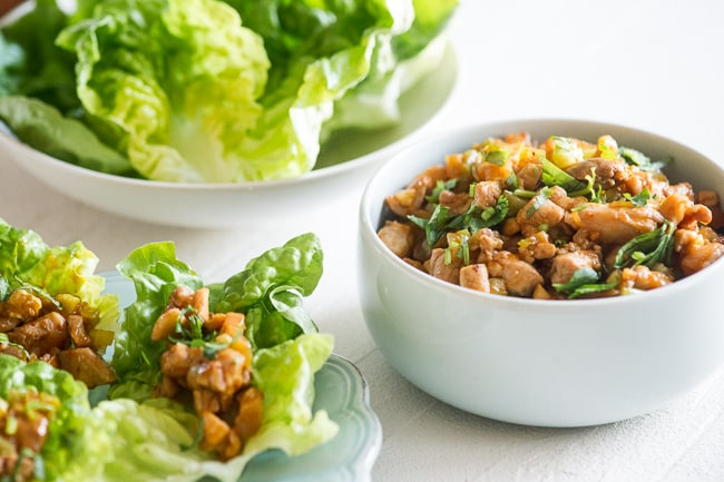 Sriracha Chicken Lettuce Cups Recipe from ChickenRecipeBox.com