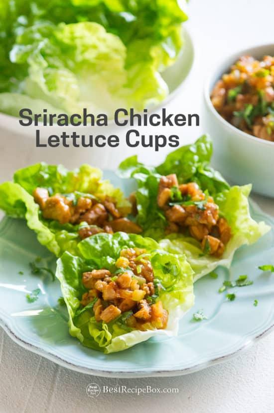 Sriracha Chicken Lettuce Cups Recipe on plate