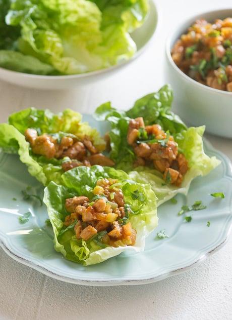 Sriracha Chicken Lettuce Cups Recipe via ChickenRecipeBox.com
