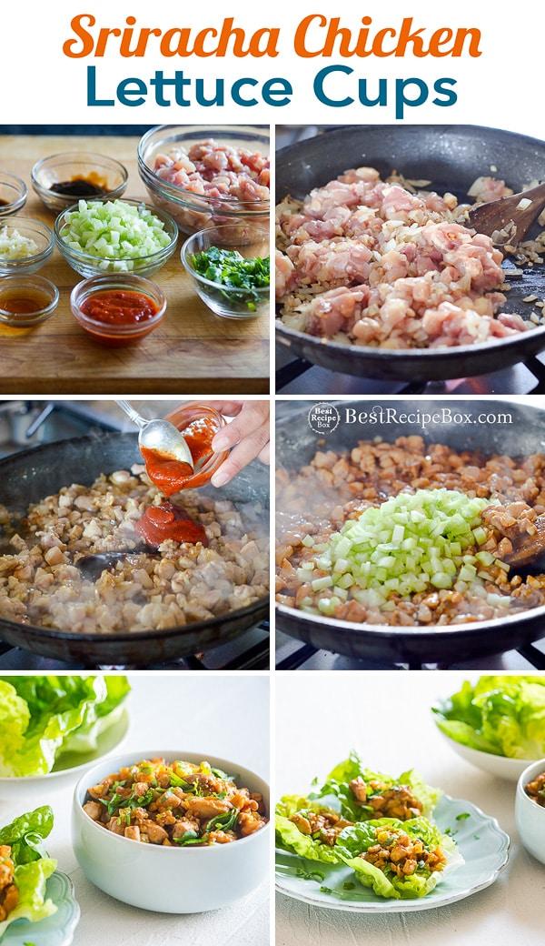 Sriracha Chicken Lettuce Cups Recipe | BestRecipeBox.com
