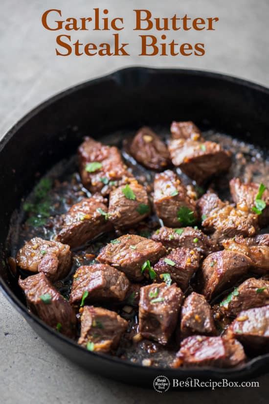 Garlic Steak Bites Recipe in Skillet One Pot Recipe on cast iron skillet