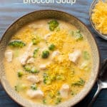 Stove top Creamy Garlic Chicken Broccoli Soup Recipe in bowl