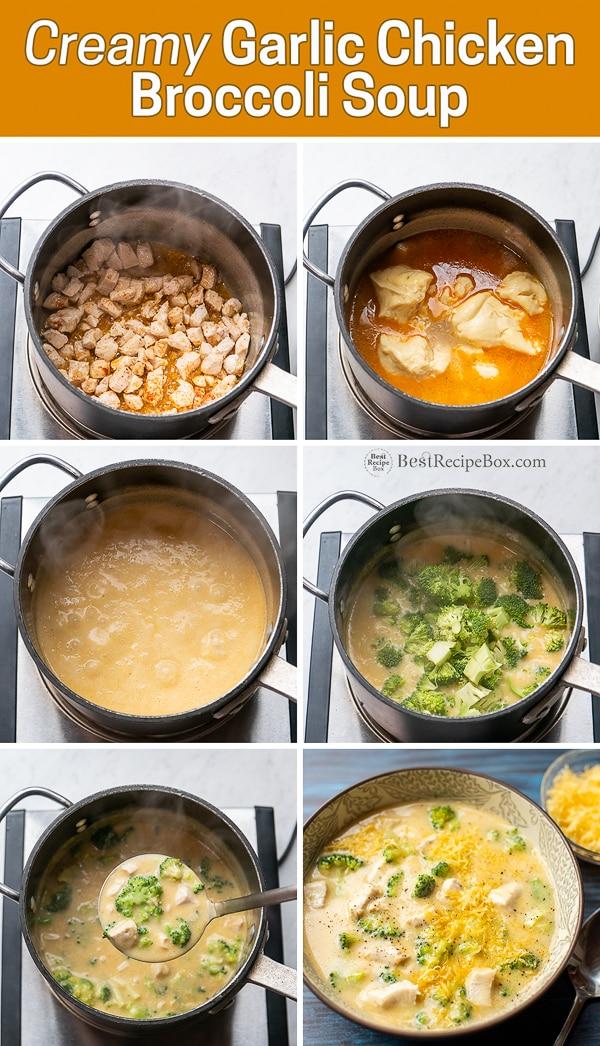 Stove top Creamy Garlic Chicken Broccoli Soup Recipe step by step