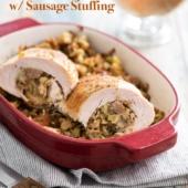 Stuffed Roast Turkey Breast w Sausage Stuffing | @BestRecipeBox