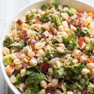 Supreme Garden Pasta Salad recipe loaded with veggies! | @bestrecipebox