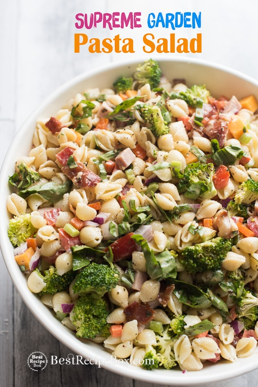 Supreme Garden Pasta Salad recipe loaded with veggies in a bowl