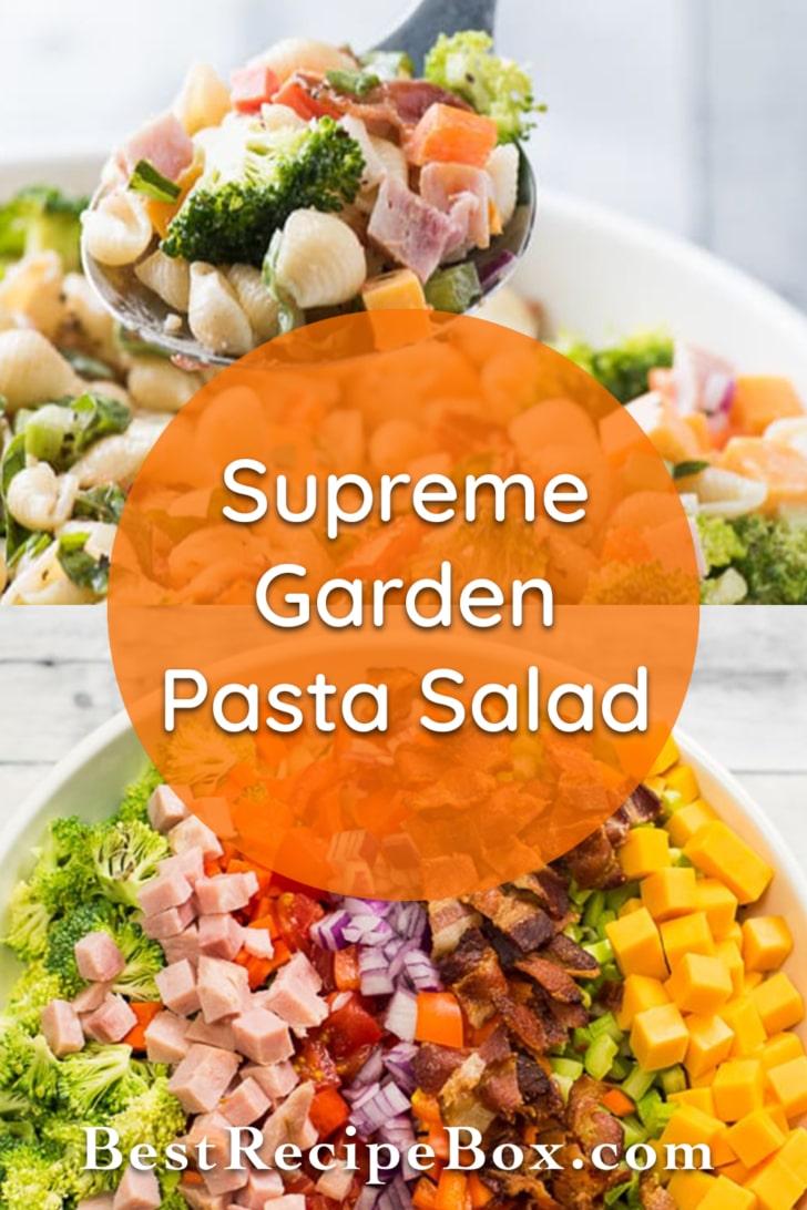 Supreme Garden Pasta Salad recipe loaded with veggies! | @bestrecipebox