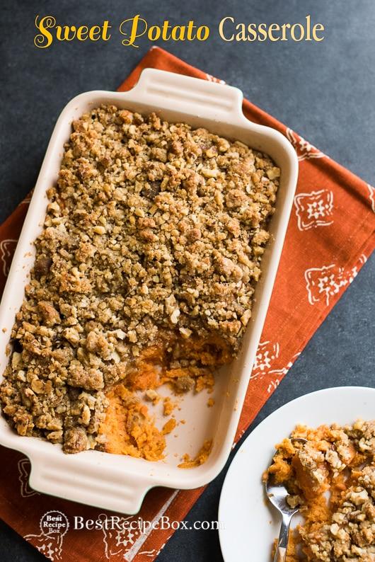 Sweet Potato Casserole in a casserole