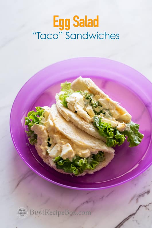 Egg Salad Taco Sandwiches on a plate
