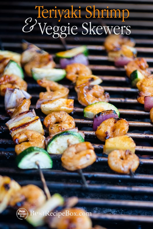 Shrimp Teriyaki Skewers with vegetables and Easy Shrimp Kebab Recipe on bbq grill