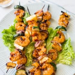 Teriyaki Shrimp Skewers with vegetables and Easy Shrimp Kebab Recipe | @bestrecipebox