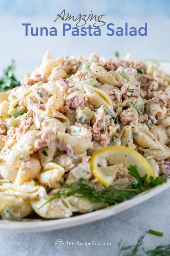 Easy Tuna Pasta Salad Recipe on plate
