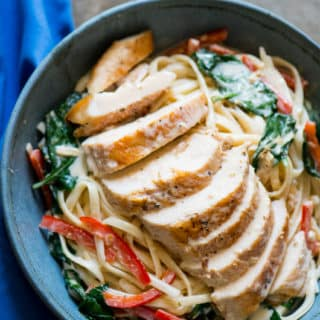 Tuscan Garlic Chicken Recipe with Linguine | @bestrecipebox