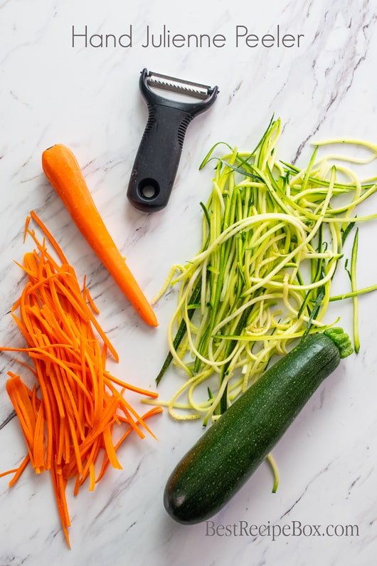 Vegetable Spiralizer Hand Julienne Peeler for Zucchini Noodles @bestrecipebox