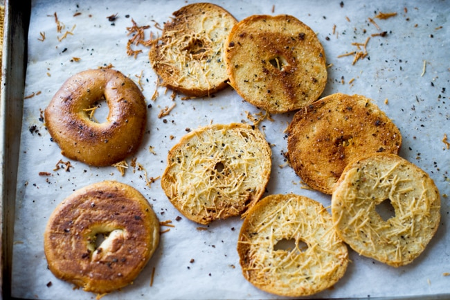 Baked Bagel Chips Recipe with Garlic, Herbs and Parmesan Cheese from Best Recipe Box