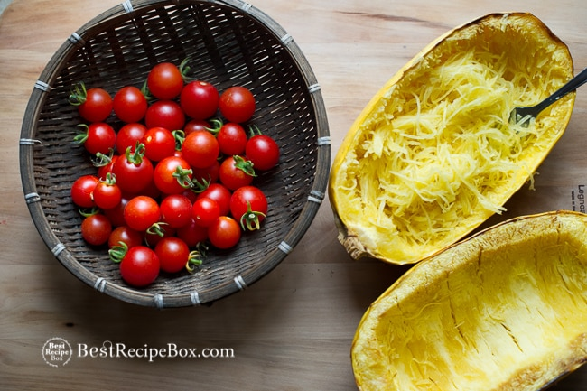 Healthy Baked Spaghetti Squash with Tomatoes & Basil on BestRecipeBox.com