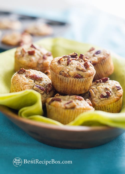 Moist and Easy Banana Nut Muffins Recipe. The secret is in the bananas, make sure they're overripe! from BestRecipeBox.com