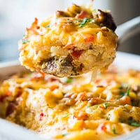 Hash Brown Breakfast Casserole with Bacon and Sausage thumbnail