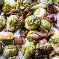 Sheet Pan Brussels Sprouts with Bacon, Garlic