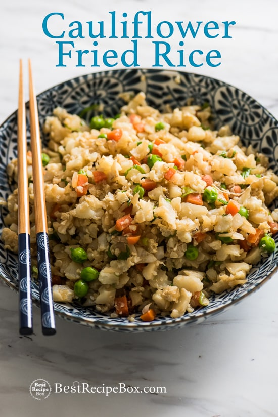 Cauliflower Fried Rice Recipe: Healthy and No Rice, just chopped cauliflower | @bestrecipebox