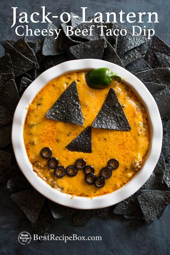 Jack-O-Lantern Cheesy Beef Taco Dip Recipe for Halloween! | @bestrecipebox