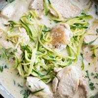 Creamy Garlic Alfredo Chicken Zucchini Noodles