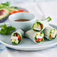 Chicken Avocado Spring Rolls with Peanut Dipping Sauce