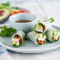 Chicken Avocado Spring Rolls with Hoisin Nut Dip