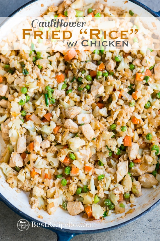 Cauliflower Fried Rice Recipe with Chicken in cooking pan