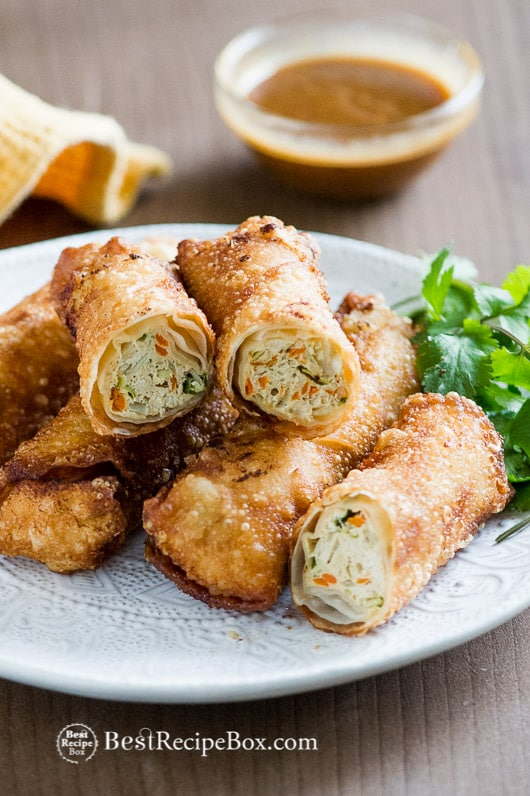 Easy Chicken Vegetable Egg Rolls Recipe on a plate