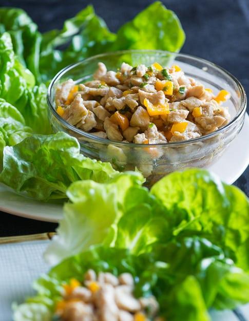 Chicken Lettuce Cups Recipe from BestRecipeBox.com
