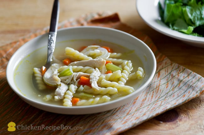 Wonderful Homemade Chicken Noodle Soup Recipe via ChickenRecipeBox.com
