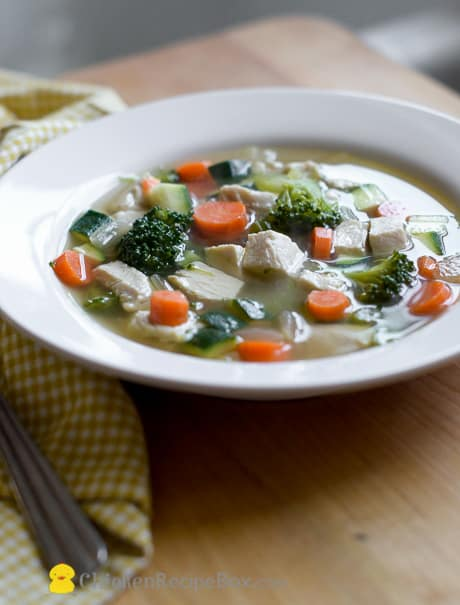 Healhy and homemade Chicken Soup Recipe that's full of vegetables via ChickenRecipeBox.com