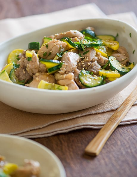 Healthy Chicken Stir Fry Recipe with Zucchini in a bowl