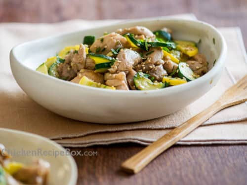 Healthy Chicken Stir Fry Recipe with Zucchi via ChickenRecipeBox.com