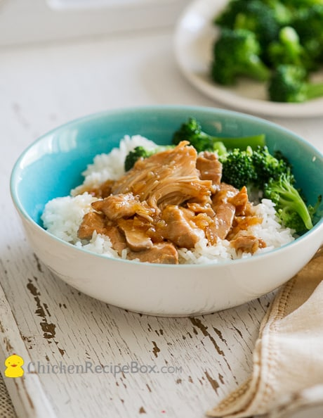Slow Cooker Teriyaki Chicken- super moist, tender and juicy! recipe from ChickenRecipeBox.com
