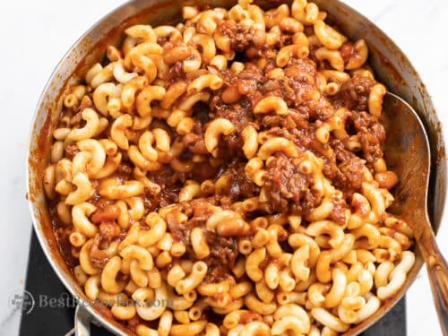 Stir in cooked pastas with the chili and meat sauce