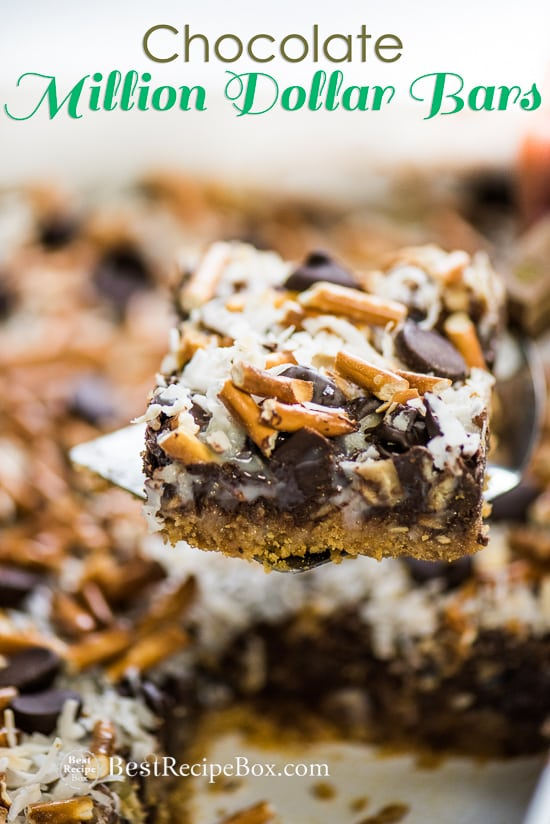 Chocolate Million Dollar Bars are Amazing Homemade Candy Bars in casserole with spatula