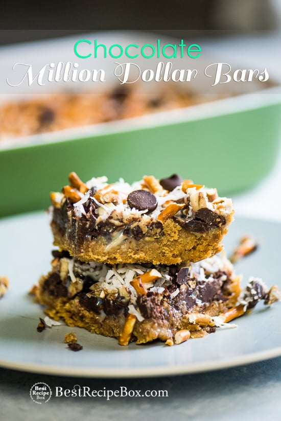 Chocolate Million Dollar Bars are the Best Homemade Candy Bars on plate
