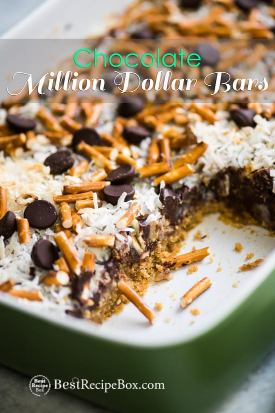 Chocolate Million Dollar Bars are Amazing Homemade Candy Bars | @bestrecipebox
