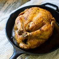 Crispy Skin Oven Roast Chicken in Cast Iron Skillet thumbnail