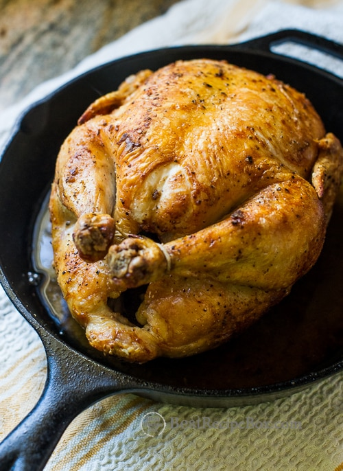 Crispy Skin Oven Roast Chicken Recipe in Cast Iron Skillet on BestRecipeBox.com